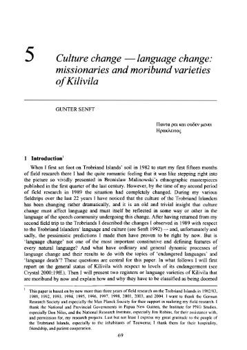5 Culture change -language change: missionaries and ... - PubMan