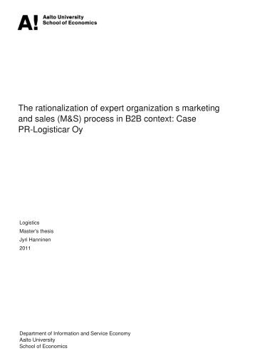The rationalization of expert organization?s marketing and sales ...