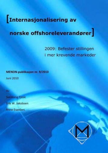 [Internasjonalisering av norske offshoreleverandører] - Menon