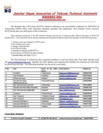 Sanchar Nigam Association of Telecom Technical ... - Snatta.org