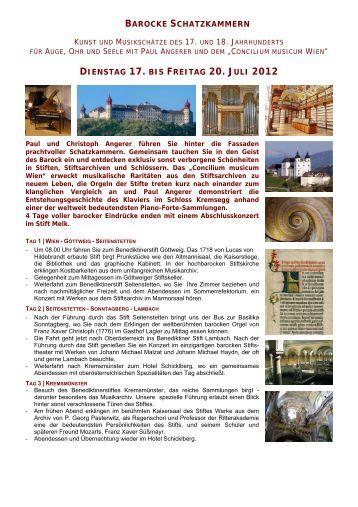 barocke schatzkammern - Kultur-Management Wien