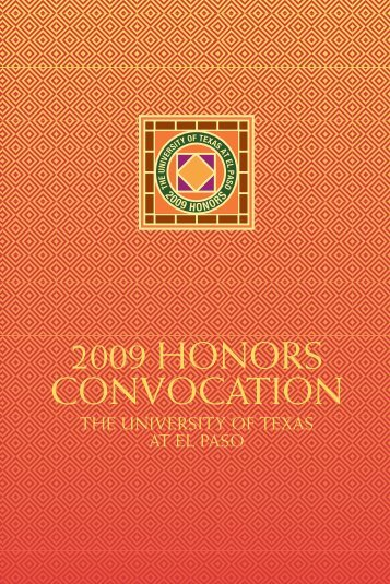 2009 HONORS CONVOCATION - University of Texas at El Paso