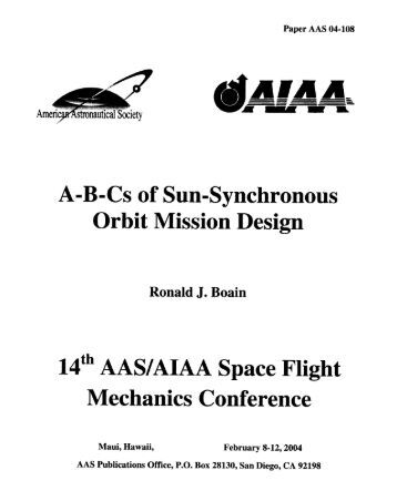 AB-Cs of Sun-Synchronous Orbit Mission Design - NASA Jet ...