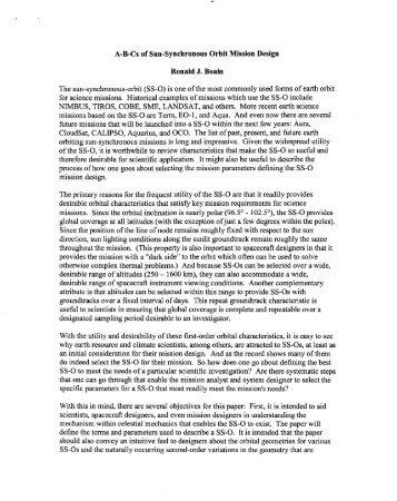 A-B-Cs of Sun-Synchronous Orbit Mission Design Ronald J. Boain ...