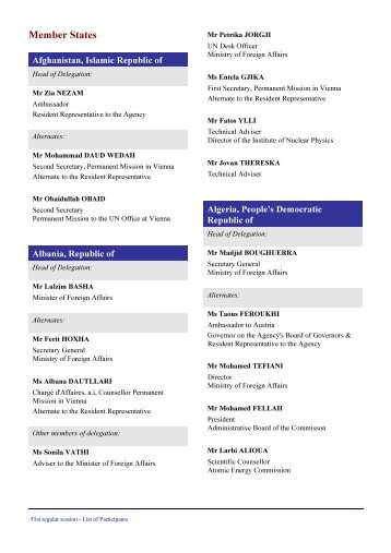 List of Participants at the 51st IAEA General Conference