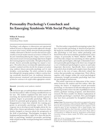 Personality Psychology's Comeback and Its Emerging Symbiosis ...