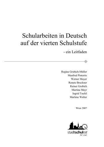 Schularbeiten in Deutsch auf der vierten Schulstufe