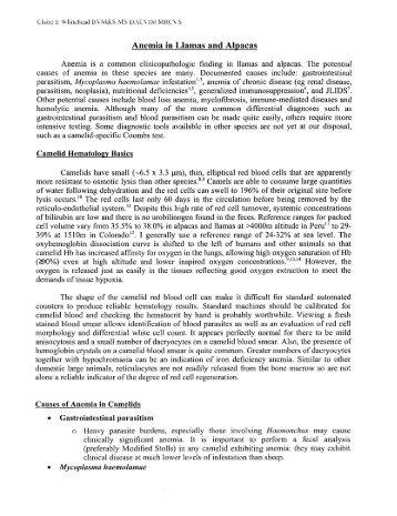 Anemia in Llamas and Alpacas - Kulshan Veterinary Hospital