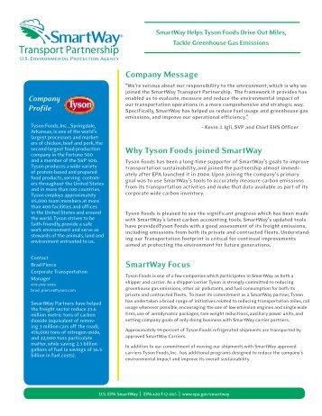SmartWay Partner Profile: Tyson Foods, Inc. (EPA-420-F-12-065 ...