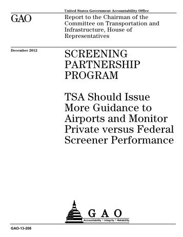 TSA Should Issue More Guidance - US Government Accountability ...