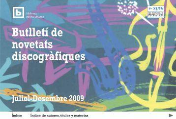 Butlletí de novetats discogràfiques, Juliol-Desembre 2009