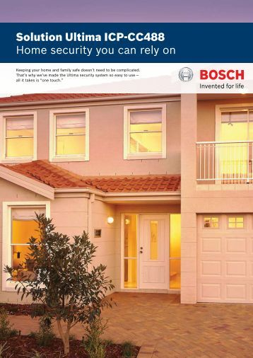 Solution Ultima ICP-CC488 Home security you can ... - Bosch Security