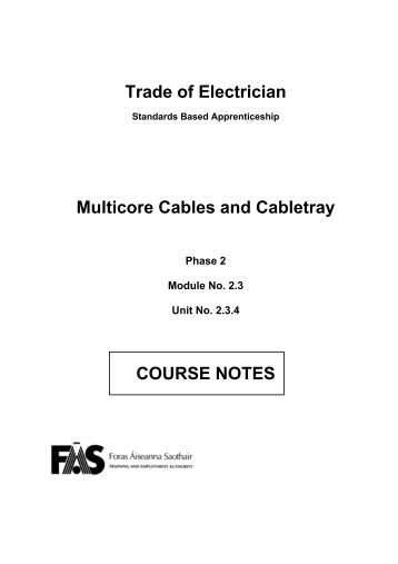 Trade of Electrician Multicore Cables and Cabletray ... - eCollege