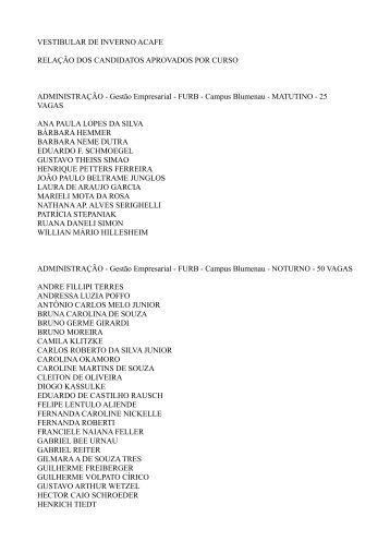 VESTIBULAR DE INVERNO ACAFE RELAÇÃO DOS ... - clicRBS
