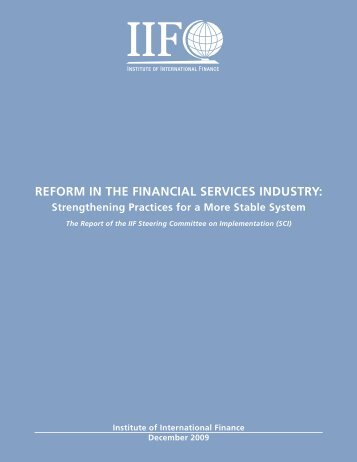 reform in the financial services industry: - Institute of International ...