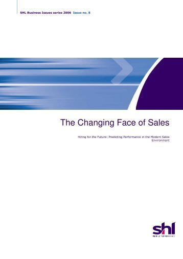 The Changing Face of Sales - SHL Solutions Partners