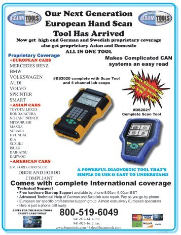 Our Next Generation European Hand Scan Tool Has ... - Baum Tools