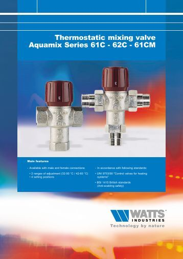 Thermostatic mixing valve Aquamix Series 61C ... - Watts Industries