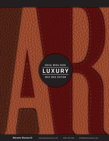 2012-13 Social Media Guide for Luxury Brands - Abrams Research