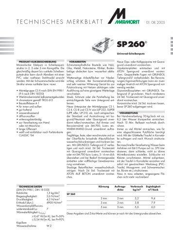 Marmorit SP260, Universal-Scheibenputz - Schaller & Brunner GmbH