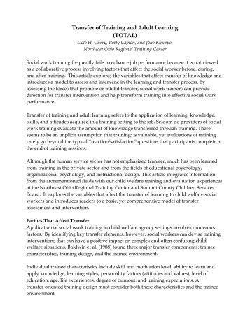 the TOTAL method - The Ohio Child Welfare Training Program