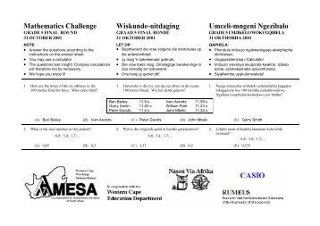 Mathematics Challenge, Grade 5 First Round - AMESA