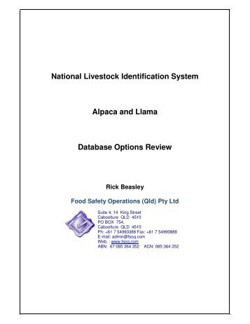 National Livestock Identification System Alpaca and Llama ...