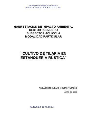 Cultivo de Tilapia en Estanquería Rústica - sinat - Semarnat