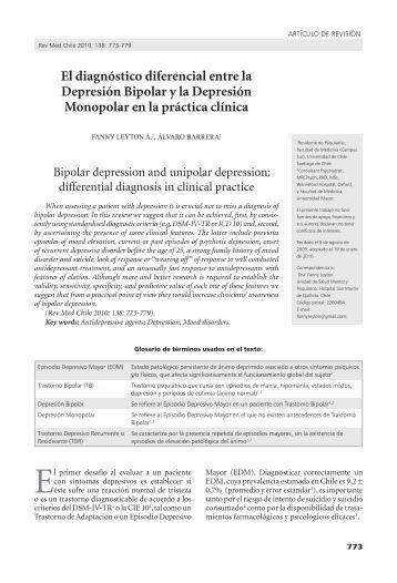 El diagnóstico diferencial entre la Depresión Bipolar y la ... - SciELO