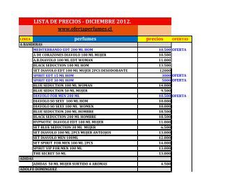 LISTA DE PRECIOS - DICIEMBRE 2012.