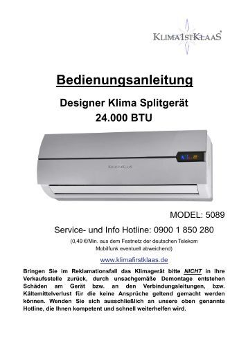 bedienungsanleitung mobile klimaanlage 2 6 kw klima1stklaas. Black Bedroom Furniture Sets. Home Design Ideas