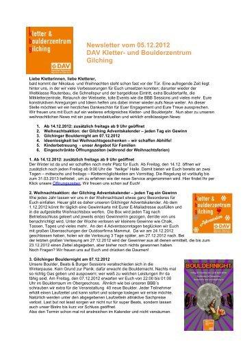 Newsletter vom 05.12.2012 - und Boulderzentrum Gilching