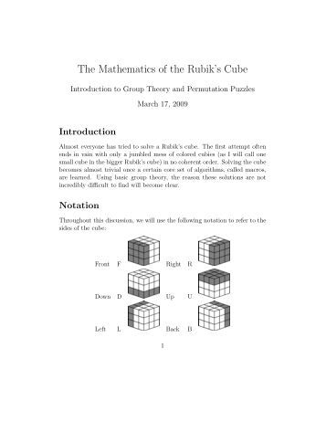 group theory and the rubiks cube essay Abstract the rubik's cube is a well known puzzle that has remarkable group theory properties the objective of this project is to understand how the rubik's cube operates as a group.