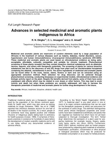 Advances in selected medicinal and aromatic plants indigenous to ...
