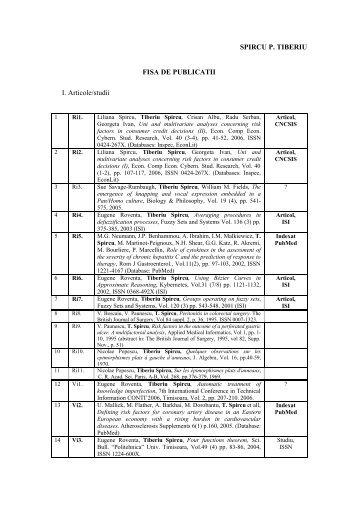 SPIRCU P. TIBERIU FISA DE PUBLICATII I. Articole/studii