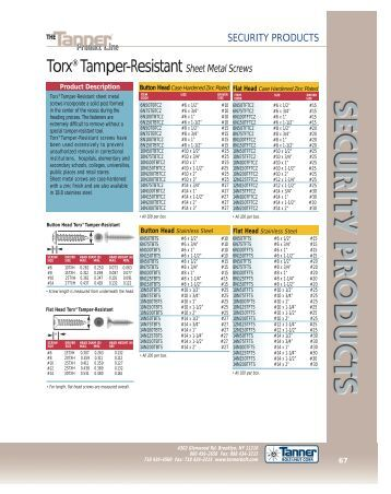 SECURITY PRODUCTS Torx® Tamper-Resistant Sheet Metal Screws