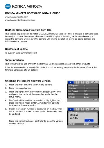 DiMAGE Z3 Camera Firmware Ver.1.03e Contents of update Target ...