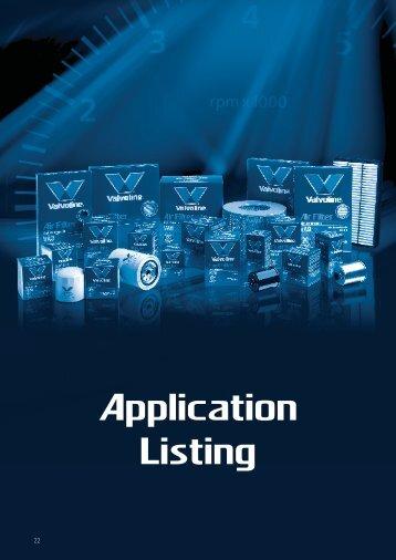Applications by Make/Model - Valvoline