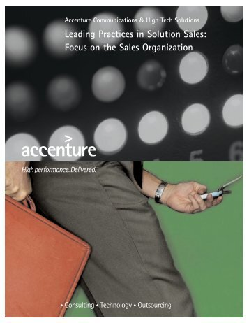 Leading Practices in Solution Sales: Focus on the Sales Organization