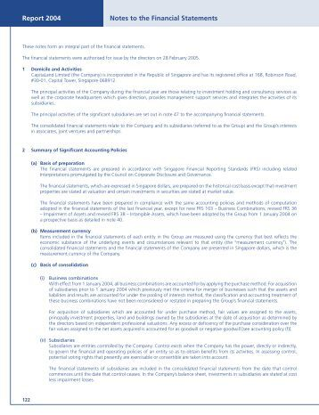 Notes to the Financial Statements - CapitaLand