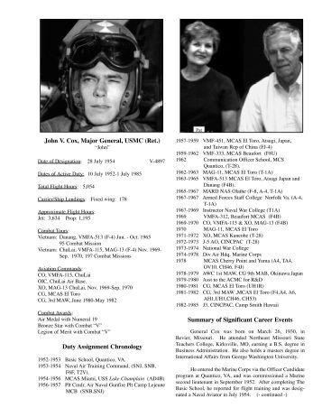 John V. Cox, Major General, USMC (Ret.) Duty Assignment ...
