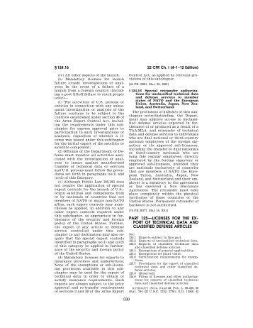 ITAR Part 125 - Directorate of Defense Trade Controls