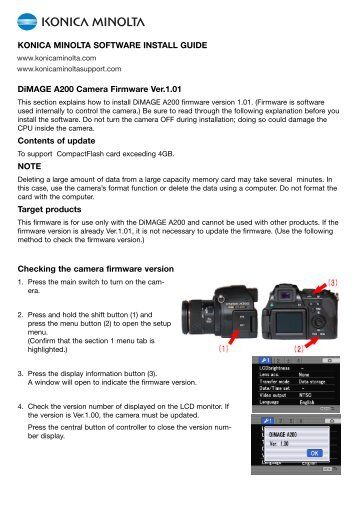 DiMAGE A200 Camera Firmware Ver.1.01 Contents of update NOTE ...
