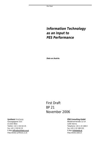 Information Technology as an Input to PES Performance First Draft ...