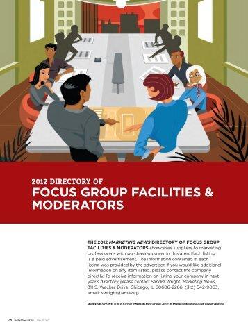 Focus Group Facilities & Moderators - American Marketing Association