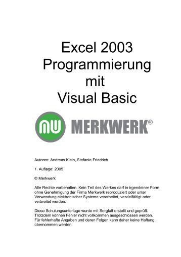 Excel Makro Programmierung - Merkwerk