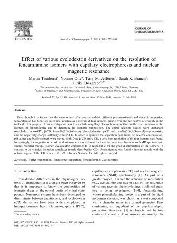 Effect of various cyclodextrin derivatives on the resolution of ...