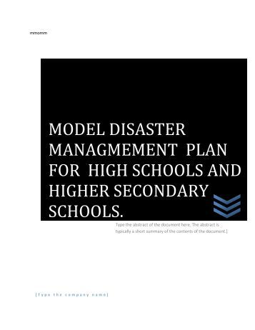 Model Disaster Management Plan - Education Department of Assam ...
