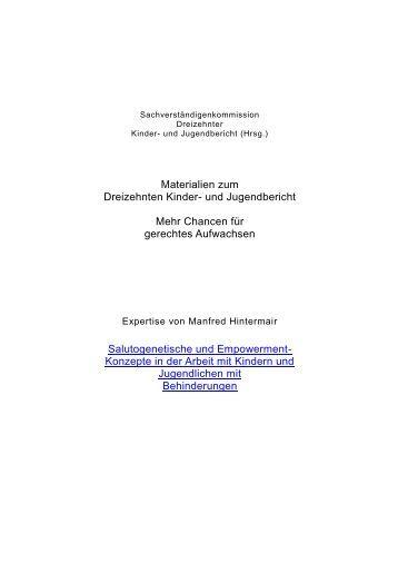 Salutogenetische und Empowerment-Konzepte in der Arbeit mit ...