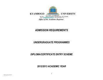 ADMISSION REQUIREMENTS - Kyambogo University